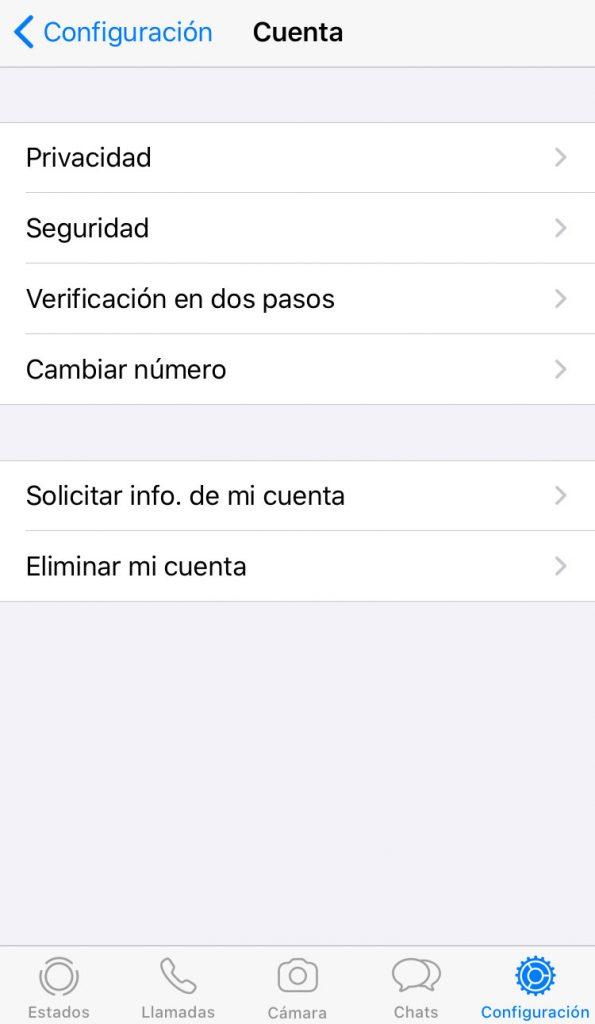 pantalla de configuracion de WhatsApp