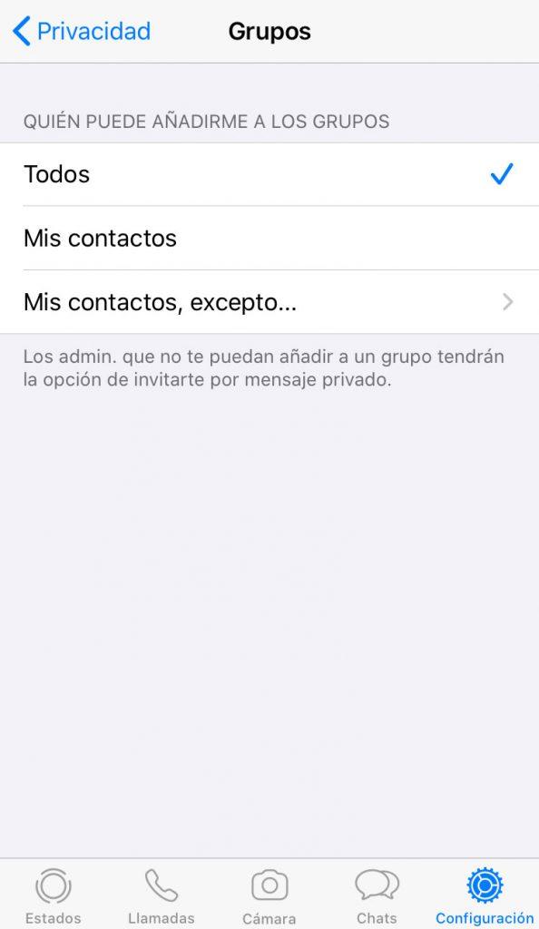 Pantalla de Grupos de WhatsApp para impedir que te agreguen a un grupo de WhatsApp sin permiso